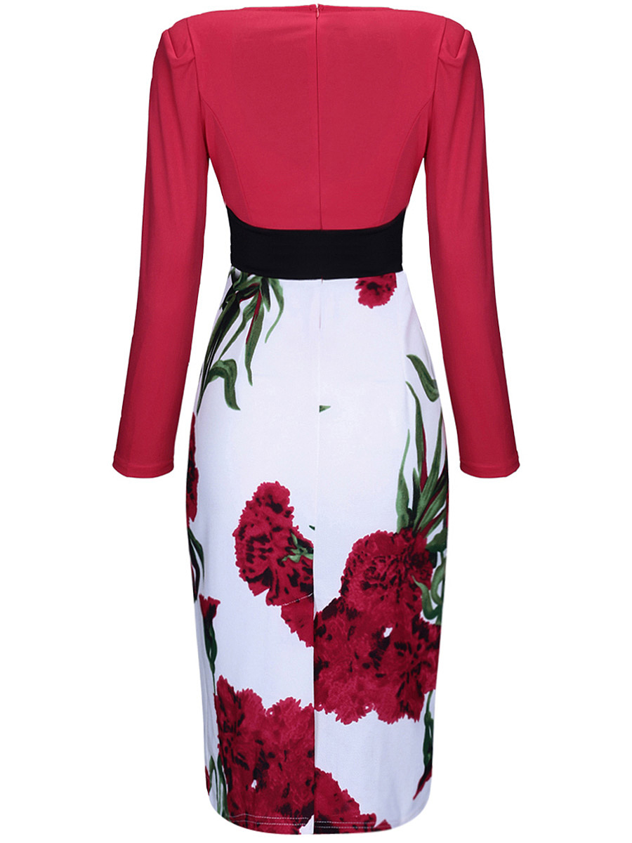 Women Floral Printed V-Neck Bodycon Dress