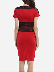 Round Neck Dacron Lace Color Block Lace Bodycon-dress