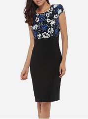 Round Neck Dacron Floral Patchwork Printed Bodycon-dress