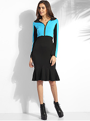 Zips Polo Collar Cotton Color Block Bodycon Dress