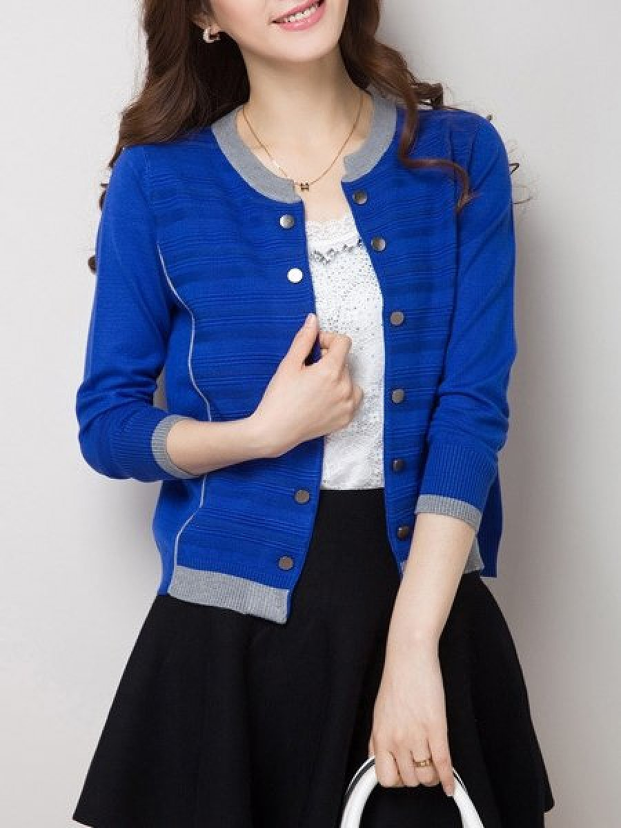 Assorted Colors Classical Collarless Cardigan