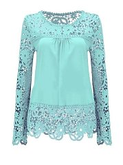 Autumn Spring  Lace  Women  Round Neck  Plain  Long Sleeve Blouses