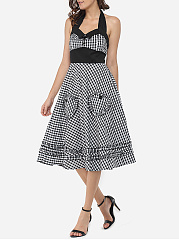 Pockets Halter Dacron Plaid Maxi-dress