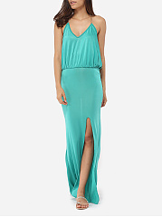 Spaghetti Strap Dacron Plain Side Slit Maxi Dress