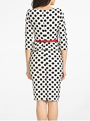 Vintage Polka Dot Peplum Belt Bodycon Dress