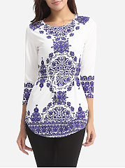 Autumn Spring  Polyester  Women  Round Neck  Two Way  Tribal Printed  Long Sleeve Blouses