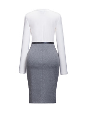 Elegant OL Crew Neck Split Belt Color Block Bodycon Dress