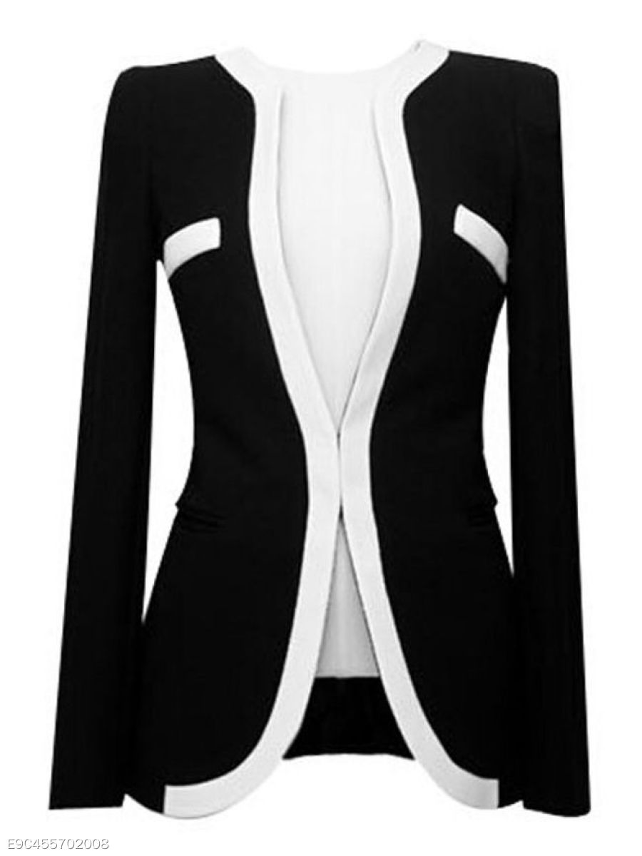 Color Block Patchwork Elegant Collarless Blazers