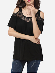 Loose Fitting Round Neck Dacron Lace Hollow Out Patchwork Plain Short Sleeve T-shirt