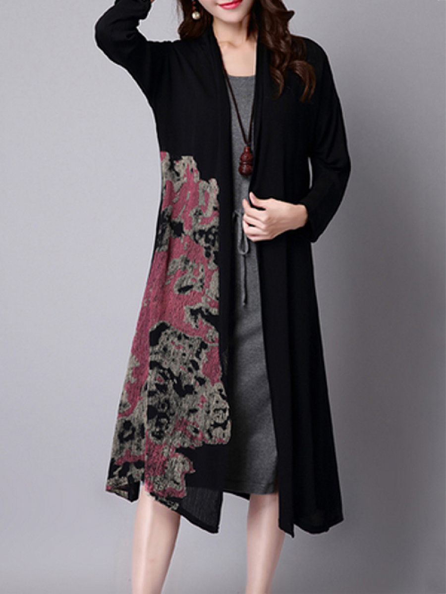 Printed Graceful Collarless Trench-Coats