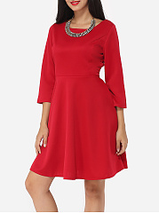 Plain Bowknot Captivating Boat Neck Skater-dress
