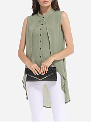 Spring Summer  Chiffon  Women  High Neck  Asymmetric Hem Single Breasted  Plain  Sleeveless Blouses