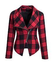 Lapel-Zips-Asymmetric-Hem-Plaid-Jacket
