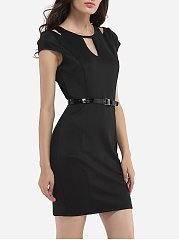 Zips Round Neck Dacron Hollow Out Plain Bodycon-dress