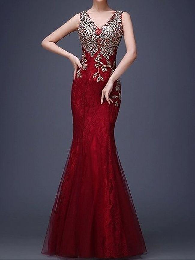Fashionmia V-Neck Applique Mermaid Evening Dress