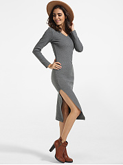 V Neck Cotton Plain Side Slit Bodycon-dress