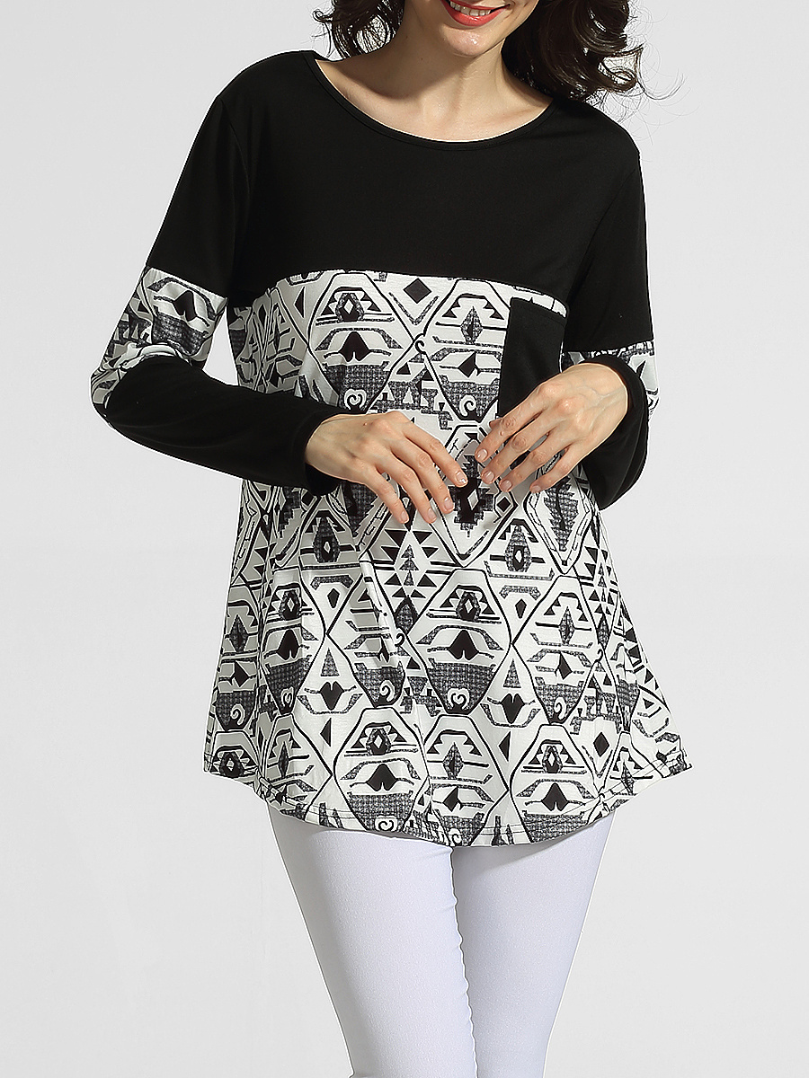 Round Neck Pockets Printed Long-sleeve-t-shirt