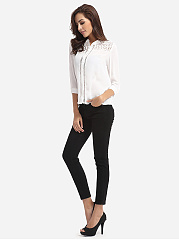 Autumn Spring  Women  Turn Down Collar  Hollow Out Plain Blouses