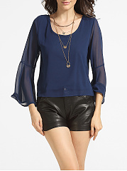 Mandarin Sleeve Scoop Neck Chiffon Hollow Out Plain Blouse