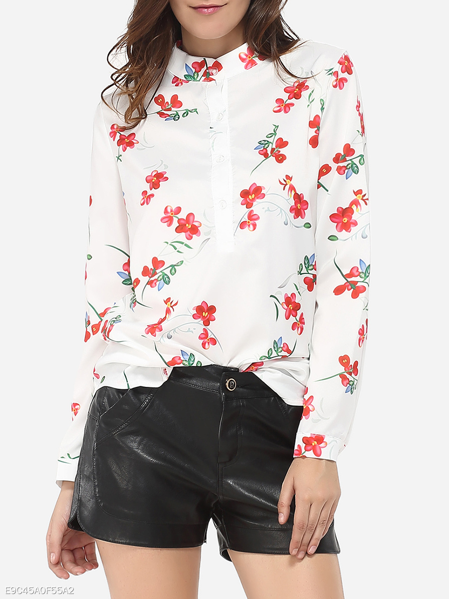 Button Down Collar Cotton Floral Printed Blouse