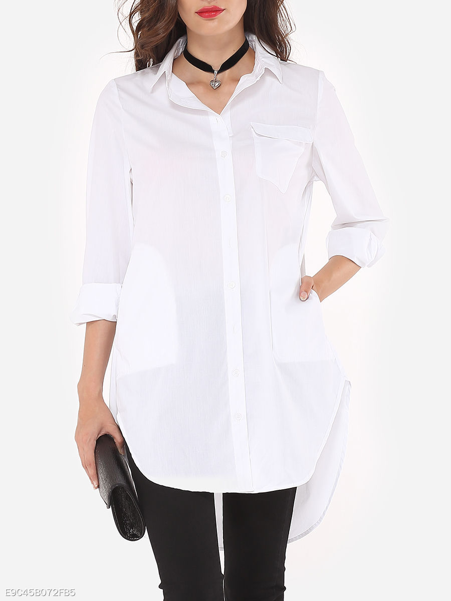 Spring  Acrylic  Women  Turn Down Collar  Single Breasted  Plain  Long Sleeve Blouses