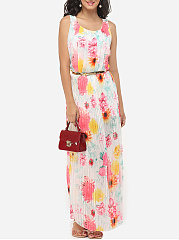Floral Printed Pleated Charming Round Neck Maxi-dress