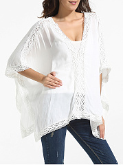 V Neck Dacron Hollow Out Lace Patchwork Plain Tunic