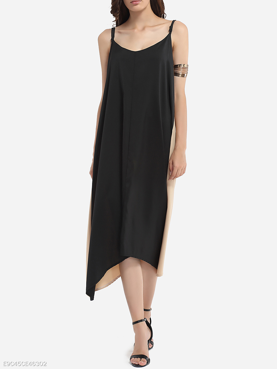Loose Fitting Asymmetrical Hems Spaghetti Strap Cotton Assorted Colors Maxi-dress