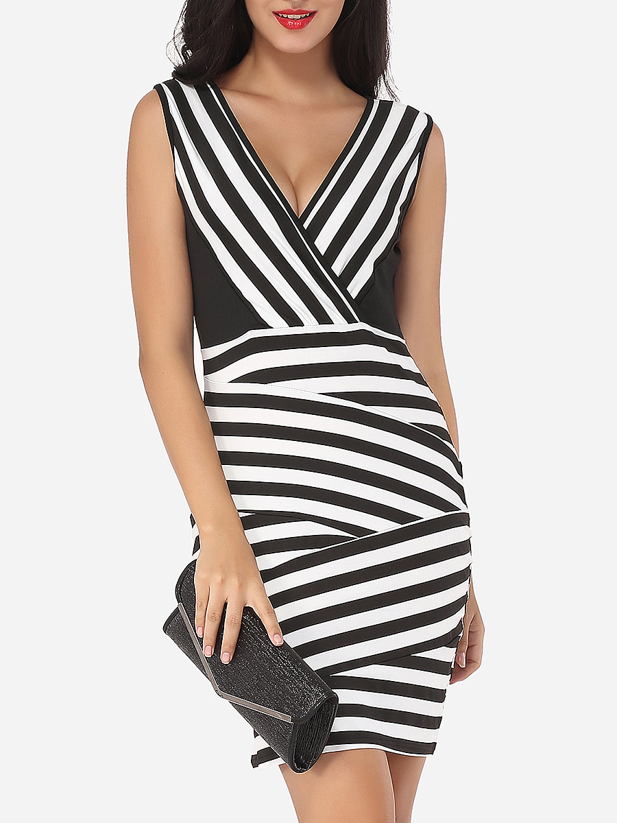 Assorted Colors Printed Striped Captivating V Neck Bodycon-dress