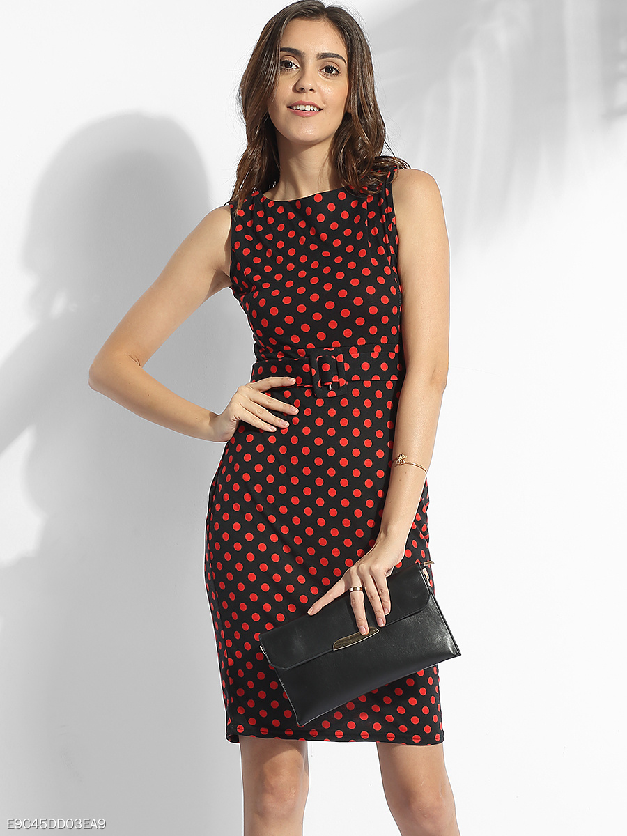 Boat Neck Cotton Polka Dot Bodycon-dress