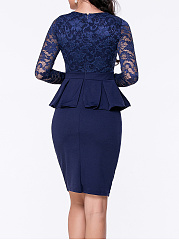 Office Peplum Plain See-Through Bodycon Dress