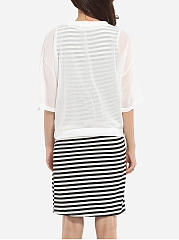 Round Neck Chiffon Loose Fitting Pockets Top And Dacron Strip Dress