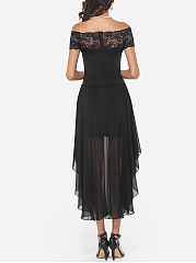 Lace Patchwork Plain Asymmetrical Hems Elegant One Shoulder Maxi-dress