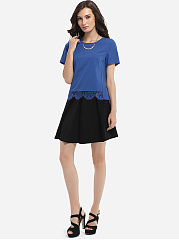 Round Neck Dacron Lace Patchwork Plain Short Sleeve T-shirt