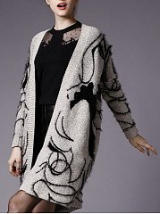 Embroidery Solid Stylish V Neck Cardigan