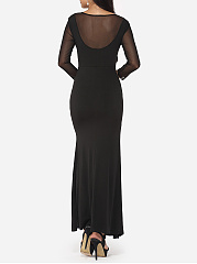 Deep V-neck Lave-up Dacron High Slit Plain Split Evening-dress