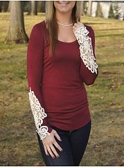 Lace Patchwork Round Neck Long Sleeve T-Shirts