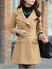 Double Breasted  Belt  Plain  Long Sleeve Coats