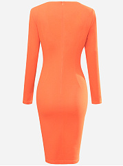 Vintage Color Block Round Neck Bodycon Dress