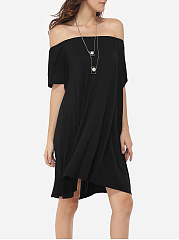Loose Fitting Off Shoulder Dacron Plain Shift-dress