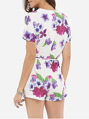 Loose Fitting Dacron Floral Printed Rompers