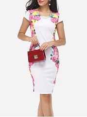 Floral Printed Delicate Round Neck Bodycon-dress