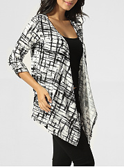 Collarless Asymmetrical Hems Plaid Cardigan