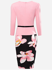 Floral Printed Fake Two-Piece Bodycon Dress