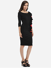 Falbala Boat Neck Dacron Color Block Bodycon-Dress