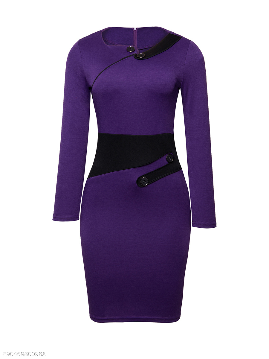 Asymmetric Neck Decorative Button Color Block Split Bodycon Dress