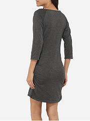 Round Neck Dacron Plain Split Bodycon-dress