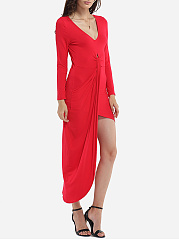 Asymmetrical Hems V Neck Dacron Plain Maxi-dress
