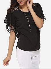Spring Summer  Polyester  Women  Round Neck  Decorative Lace  Plain  Batwing Sleeve Blouses