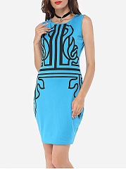 Printed Modern Round Neck Bodycon-dress